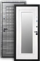 Входная дверь РОССА Стайл 2К с зеркалом grey/бел.дуб