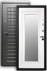 Входная дверь РОССА Стайл 2К с зеркалом платина/бел.дуб