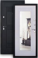 Входная дверь 2К с зеркалом шелк/бел.дуб
