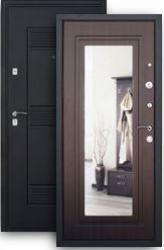Входная дверь 2К с зеркалом шелк/венге